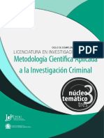 INVESTIGACION CRIMINAL NT 3 - Metodologia Cientifica Aplicada a La Investigacion Criminal