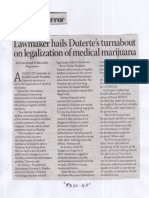 Business Mirror, Mar. 12, 2019, Lawmaker hails Duterte's tyrnabout on legalization of medical marijuana.pdf