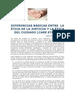 Julia Torres Canela. Diferencias básicas entre ética de la justicia y ética del cuidado
