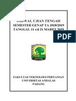 Jadwal Uts Fateta 20182