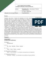 Ementa da disciplina Antropologia, filosofia e Política