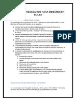 Requisitos Necesarios Para Emisores en Bolsa
