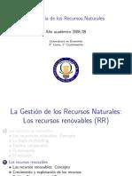 La Gestión de Los Recursos Renovables
