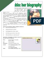 Frida Kahlo Her Biography Grammar Drills Information Gap Activities Reading 80266