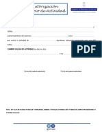 Autorización cambio de actividad - Curso 2018 / 2019