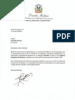 Cartas de felicitaciones del presidente Danilo Medina a reconocidas como Mujeres Ejemplares del Deporte