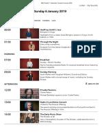 BBC Radio 3 - Schedules, Sunday 6 January 2019
