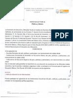 Convocatoria Ingreso EDUCACIÓN BÁSICA 2019