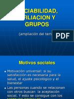 Sociabilidad, Afiliacion y Grupos