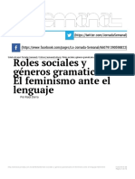 Roles Sociales y Geěneros Gramaticales. El Feminismo Ante El Lenguaje — La Jornada-Raúl Dorra