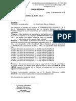 Carta Notarial Transportes Cenosur l & g s.a.c.