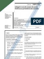NBR 05738 - 1993 - Moldagem e cura de corpos-de-prova cilíndricos ou prismáticos de concreto