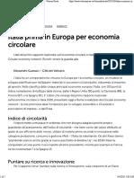 Italia Prima in Europa Per Economia Circolare