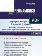 Elementos Constituintes Do Cordel Verso, Estrofe, Figuras de Linguagem, Rima, Musicalidade