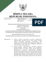 PERMENKUMHAM Nomor 13 Tahun 2015 tentang PEDOMAN PENYUSUNAN  STANDAR OPERASIONAL PROSEDUR ADMINISTRASI PEMERINTAHAN DI LINGKUNGAN  KEMENTERIAN HUKUM DAN HAK ASASI MANUSIA