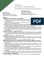 Procedure for Plant Maintenance