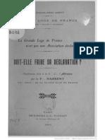 HARRENT F.·. - La Grande Loge de France n'Est Pas Une Association Déclarée ; Doit-elle Faire Sa Déclaration (1913)