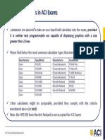 Usage of Calculators in Aci Exams Nov 2018