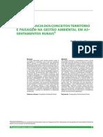 A importância dos conceitos território e paisagem na gestão ambiental em assentamentos rurais