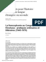 La Francophonie Au Congo-Kinshasa_ Pratiques Ordinaires Et Littéraires (1945-1970)