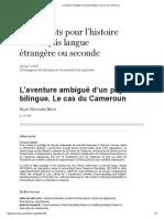 L'Aventure Ambiguë d'Un Pays Bilingue. Le Cas Du Cameroun