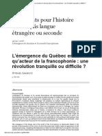 L'Émergence Du Québec en Tant Qu'Acteur de La Francophonie_ Une Révolution Tranquille Ou Difficile