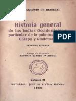 Historia general de las Indias Occidentales y particular de la gobernación de Chiapa y Guatemala (REMESAL)