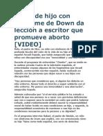 Padre de hijo con síndrome de Down da lección a escritor que promueve aborto.docx
