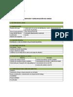 Descripción y especificaciones del cargo