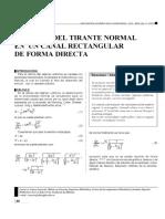 Cálculo Del Tirante Normal en Un Canal Rectangular de Forma Directa