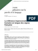 La Référence Impersonnelle Humaine en Langue Des Signes Française