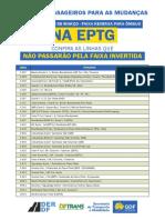 Tabela de Linhas EPTG - Não Passam Pela Faixa Reversa