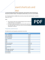 Excel 2016 for Windows keyboard shortcuts