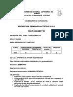 Torres, Sonia. Seminario Optativo 2019-1