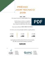 Flyer Melhor Tecnico APIC 2019