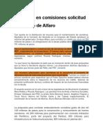 Aprueban en Comisiones Solicitud de Crédito de Alfaro