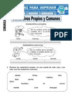 Ficha de La Sustantivos Propios y Comunes Para Primero DePrimaria