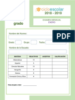 Clave de Respuestas Enero Cuarto Grado 2018-2019