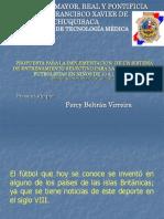 PRESENTACION PROYECTO SISTEMA DE ENTRENAMIENTO SELECTIVO PARA LA FORMACION DE FUTBOLISTAS EN NIÑOS