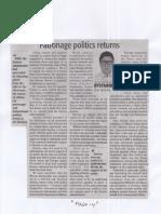 Daily Tribune, Mar. 14, 2019, Patronage politics returns.pdf