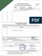 Certificado de Origen Maletines- Brasil