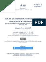 Schiţa Unui Opţional de Educaţie Pentru Valori La Vârsta