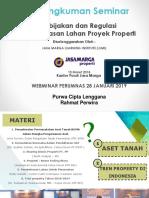 Presentasi - Rangkuman Seminar Kebijakan Dan Regulasi Pembebasan Lahan Proyek Properti