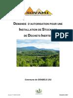 DEMANDE D'AUTORISATION POUR UNE INSTALLATION DE STOCKAGE DE DECHETS INERTES