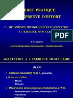 Mecanismes Physiologique d'Adaptation a l'Exercice Musculaire