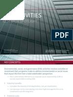 Environmental, Social and Governance (ESG) Activities - Research Spotlight