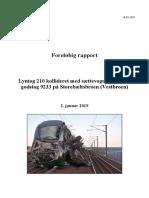 Foreløbig Rapport Lyntog Kollideret Med Trailer Fra Godstog Storebæl.. .02