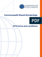 Commonwealth Shared Scholarships Terms and Conditions 2019