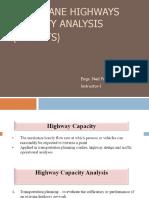 Multi-Lane Highways Capacity Analysis
