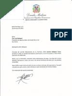 Carta de condolencias del presidente Danilo Medina a Juan José Bellapart por fallecimiento de su hermana Carmen Bellapart Faura